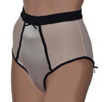 Retro High Waist Knickers in Beige Mesh with Black Trim